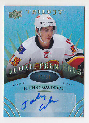 14-15 Trilogy Johnny Gaudreau /99 Auto Rookie Level 2 RADIANT GREEN Flames 2014