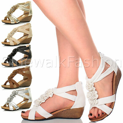 Womens ladies mid wedge heel strappy flower ruffle t-bar summer sandals size