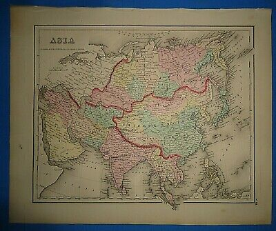 Vintage 1857 ASIA - CHINA - ARABIA - SIAM MAP Old Antique Original Atlas Map