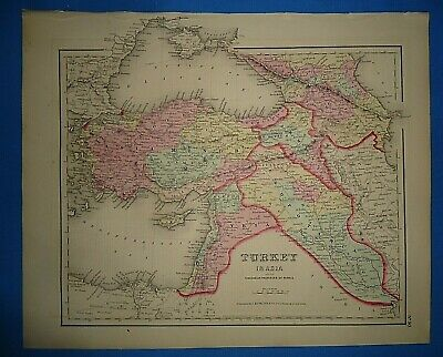 Vintage 1857 TURKEY in ASIA MAP Old Antique Original Atlas Map