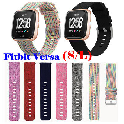 Woven Canvas Nylon Wristband Strap Replacement Band for Fitbit Versa Smart Watch
