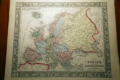 1863 Rare Beautiful Antique Mitchell Atlas Map Of Europe-Handcolored