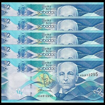 5 Dollars 2013 Unc Real Foto P-74 Barbados