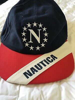 c735d7661fb28 VINTAGE Nautica Strap Back Hat Cap Blue Red Sail Sports Stars Spell Out 90s