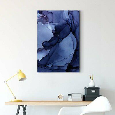 Framed Art Blue color block abstract decorative picture 003