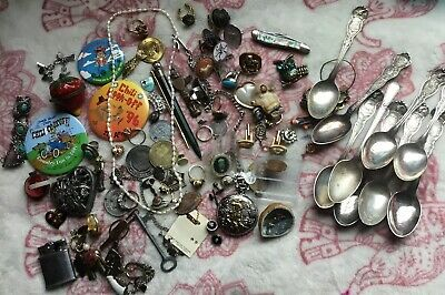 Estate Rare Vintage Mens Junk Drawer Lot Watches Medals Knives Razors & More