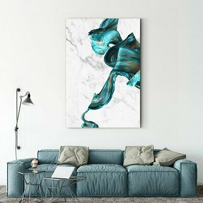 Framed Art Blue wave abstract decorative painting 003