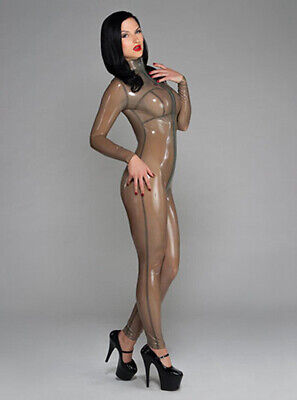 Latex Catsuit Rubber Gummi Transparent Sexy Long Zip Leotard Customized 0.4mm