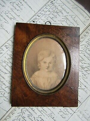 Quality Antique Mid 19Th Centur French Sepia Water Colour  Of A Child So Pretty