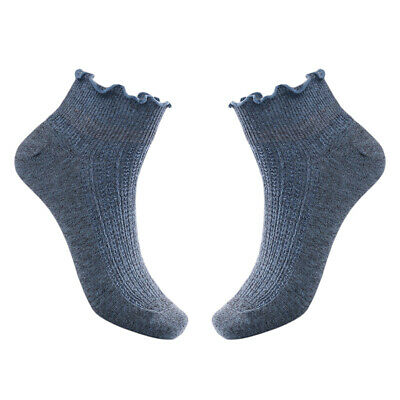 Women Girl Pure Colour Breathable Soft Cotton Ankle Curling Casual Socks LC