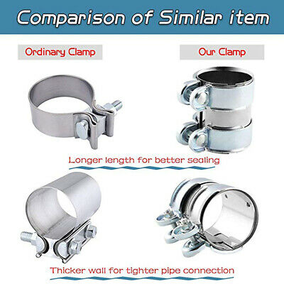 """2.5""""/66mm Clamp-On Stainless Exhaust Pipe Joiner Clamps Connector Sleeve Kits"""