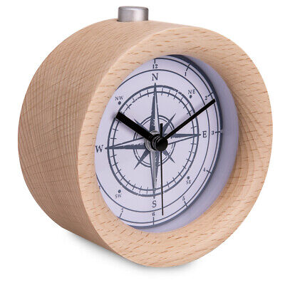 Battery-Powered Analogue Wooden Alarm Clock - Light Brown Wood, Vintage Compass