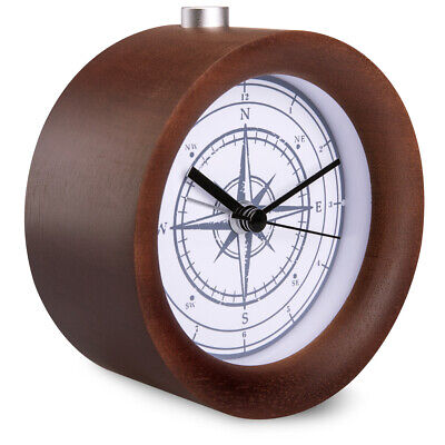 Battery-Powered Analogue Wooden Alarm Clock - Dark Brown Wood, Vintage Compass