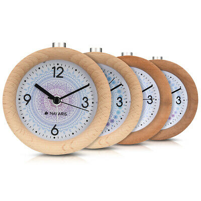 Battery-Powered Analogue Wooden Alarm Clock
