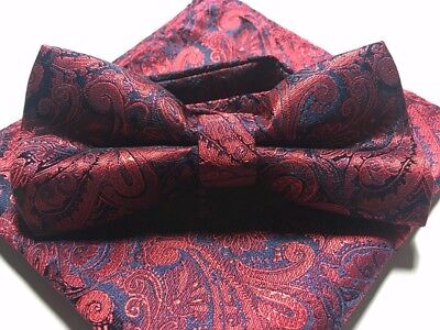 Red and Navy Paisley Pre-tied Bow tie+Pocket Square Set