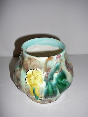 Braemore Pottery Vase with yellow flower Australian Collectable Vintage