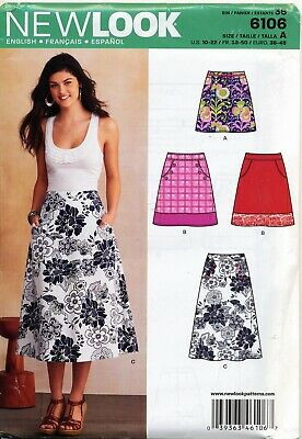 New Look Sewing Pattern 6106 Misses 10-22 A-Line Skirt, Three Lengths W/ Pockets