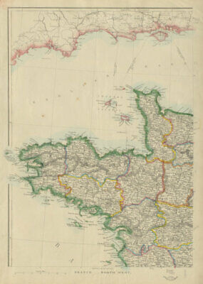 FRANCE NORTH WEST. Brittany Bretagne Normandy Normandie Loire.JW LOWRY 1862 map
