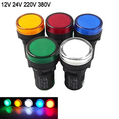 22mm LED Warning Signal Panel Indicator Light 12V 24 220 380V  Red Green Yellow