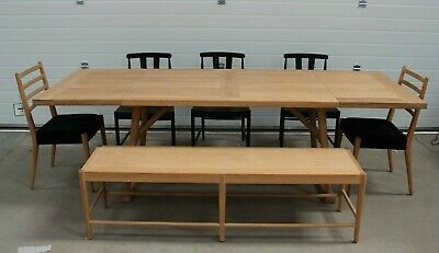 Willis & Gambier Boston, Large, Extending Oak Dining Table, 5 Black Chairs+Bench