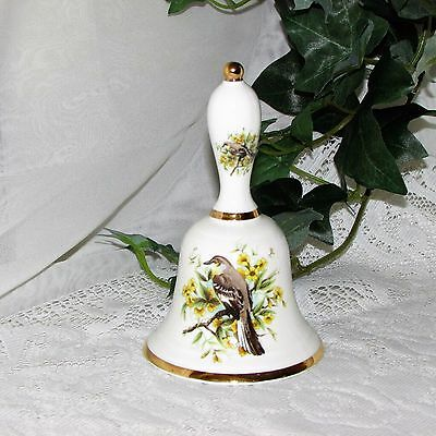Vintage Dinner Bell Newhall English Fine Bone China Bird Yellow Flowers 5 7/8""
