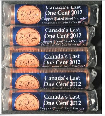 2012 1c Canada's Last One Cent Coins (5 Rolls) Plated Steel MAGNETIC!  MINT