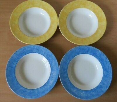 """4 x BOOTS Sorbet - Blue & Yellow 9¾"""" RIMMED PASTA Or  SOUP BOWLS V.G.C"""