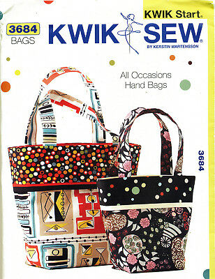 Kwik Sew Sewing Pattern K3684 Easy Learn-To-Sew Lined Hand Totes/Bags In 2 Sizes