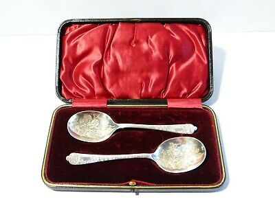 Antique 1897 Sterling Silver Pair Bright Cut Carved Spoons Cased, Christening