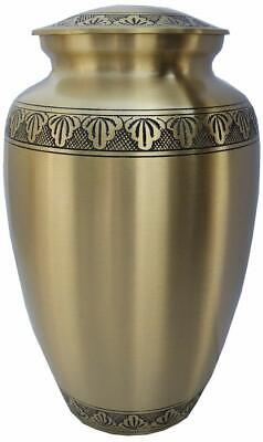 Cremation URN Human Ashes- Adult/Large in Solid Brass golden