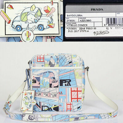 23595f8818f9 NEW  2350 PRADA Blue Leather JAMES JEAN COMIC PRINT Messenger TRAVEL Unisex  BAG