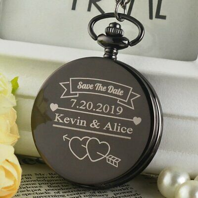 Personalised Engraved Quartz Pocket Watch with Chain Roman Dial Wedding Gift