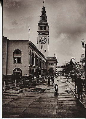 Post Card Of A Black And White Picture Of People Walking After The Rain Stopped