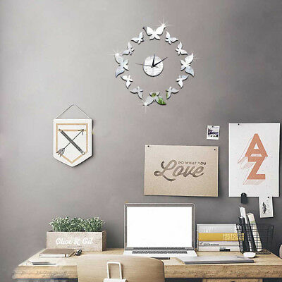 3D DIY Mirror Living Modern Design Home Room Decoration Time Wall Clock RK7