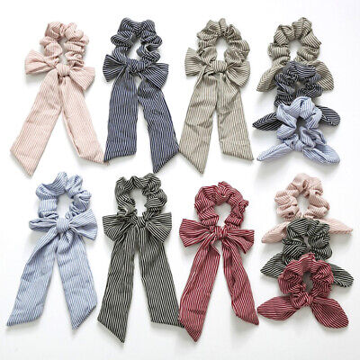 Striped Bow Streamers Hair Ring Ribbon Girl Hair Bands Scrunchies Ponytail Rope+
