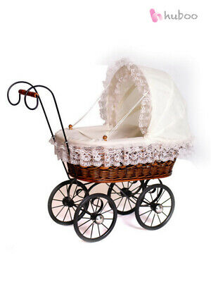 New Antique Wicker Dolls Pram Lace Vintage Style Old Fashioned Toy Girls Child