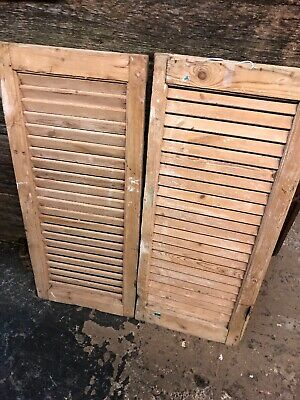 """Vtg Pair 1800's Old  Wooden Window Shutters Architectural Salvage 40""""x17"""""""