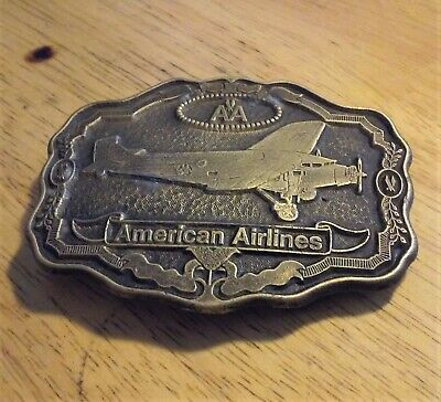 Vintage 1970's American Airlines Aviation Classic Brass Belt Buckle Oden Brand