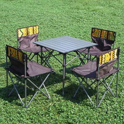 Astounding Folding Camping Table 4 Chairs Set Portable Picnic Outdoor Download Free Architecture Designs Scobabritishbridgeorg