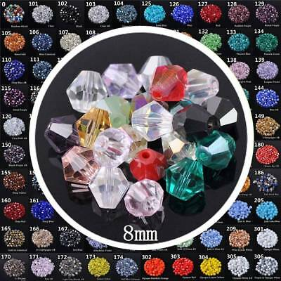 50pcs 8mm Bicone Faceted Crystal Glass Loose Beads Lot for DIY Jewelry Making