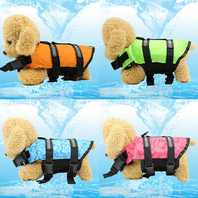 Pet Vest Harness Preserver Dog Safety Solid Swimming Life Jacket Clothes Costume