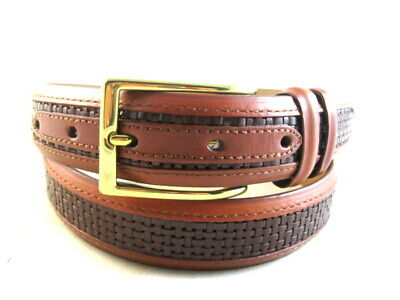 "NEW Allen Edmonds ""WOVEN INLAY"" Dress Belt #28006   Size 32  Chili   (663)"