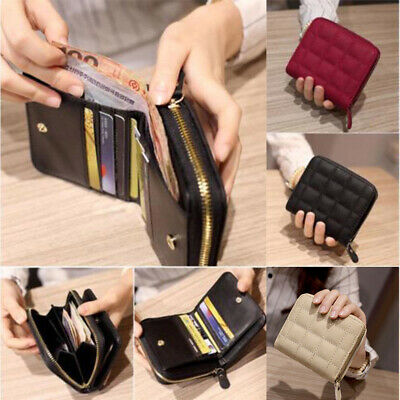 Solid Cute Wallet Women Coin Bag Case Leather Simple Bifold Small Handbag Purse