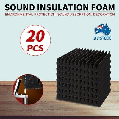 20pcs Black Studio Acoustic Foam Sound Absorbtion Proofing Panel Wedge 30X30CM