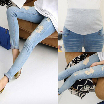 Pregnant Women's Denim Skinny Pants Adjustable Elastic Maternity Jeans TrouseCSH