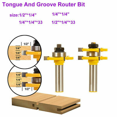 """Tongue and Groove Router Bit Set 1/4"""" 1/2"""" Shank T-type3-tooth Useful Cutter Hot"""