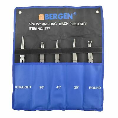 """Long Nose Pliers Set Long 11"""" / 275mm 5pc Straight Bent Angled Round Tipped"""