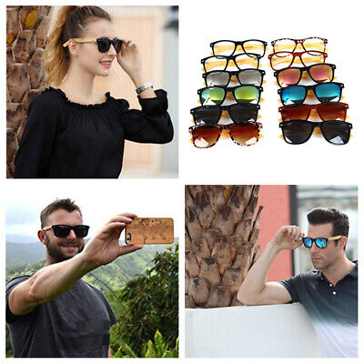 Retro Polarized Bamboo Sunglasses Mens Womens Vintage Mirrored Wooden eyewear