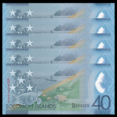 LOT 5 PCS, Salomon/Solomon Islands 40 Dollars, 2018, Polymer, COMM., Turtle, UNC