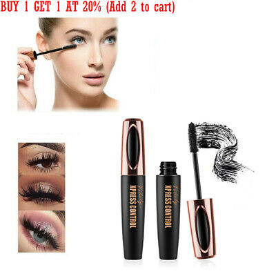4D Silk Fiber Eyelash Mascara Extension Makeup Long Black Waterproof Eye Lashes